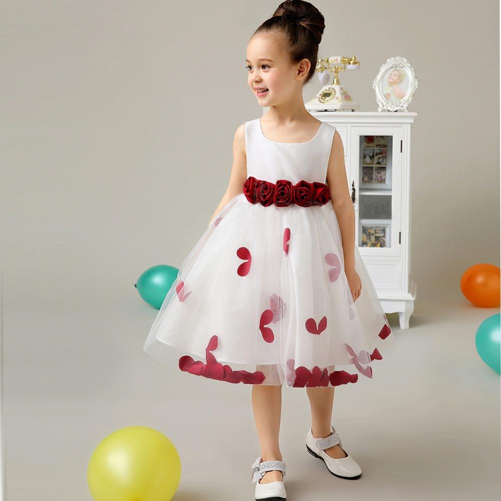 Vino rojo sin mangas una pieza party Girls vestidos con flor nuevo ...