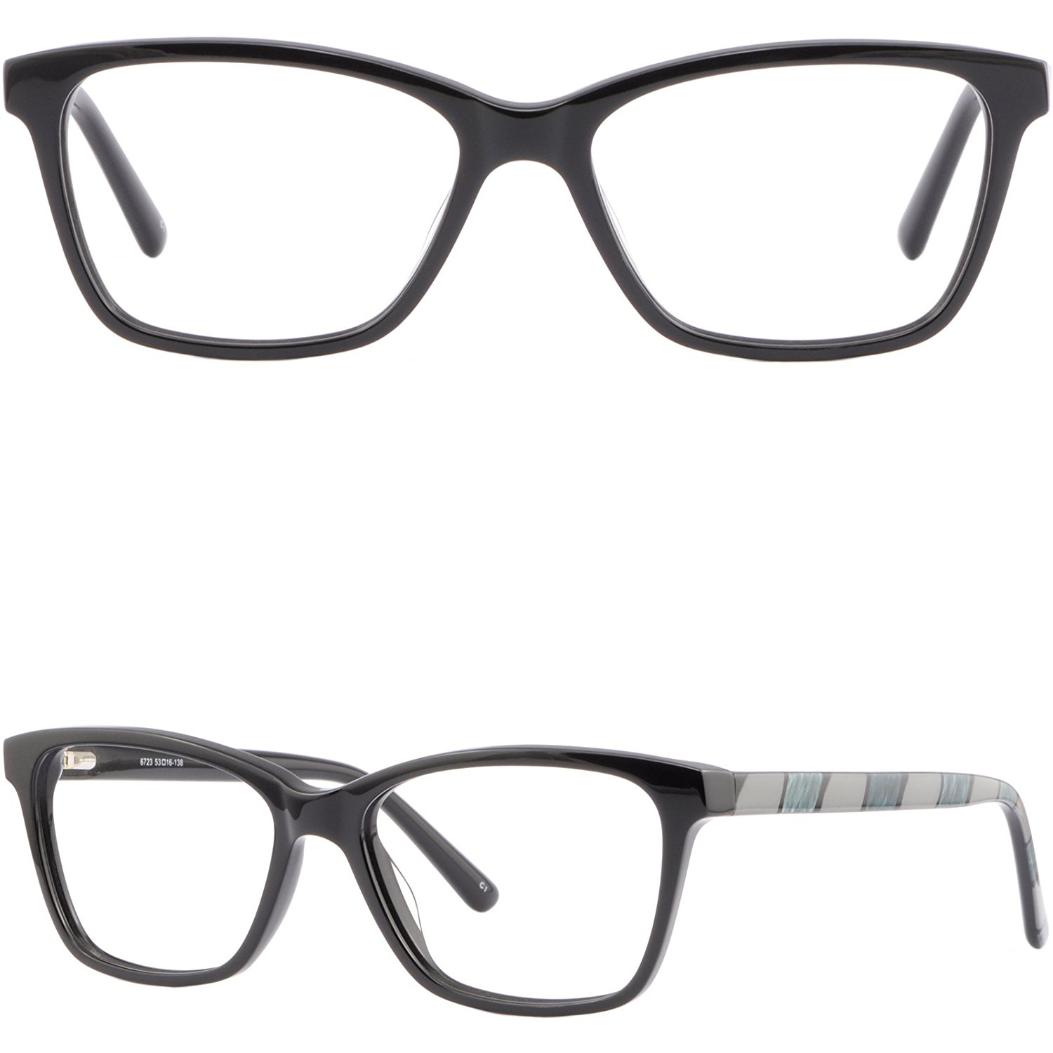 daa2d16be6d Get Quotations · Black Womens Mens Acetate Frames Spring Hinges  Prescription Eyeglasses Rectangle