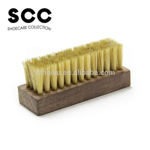 SCC brand customized walnut wooden pig bristle mini soft bristle for sneaker shoe cleaning care shoe brush