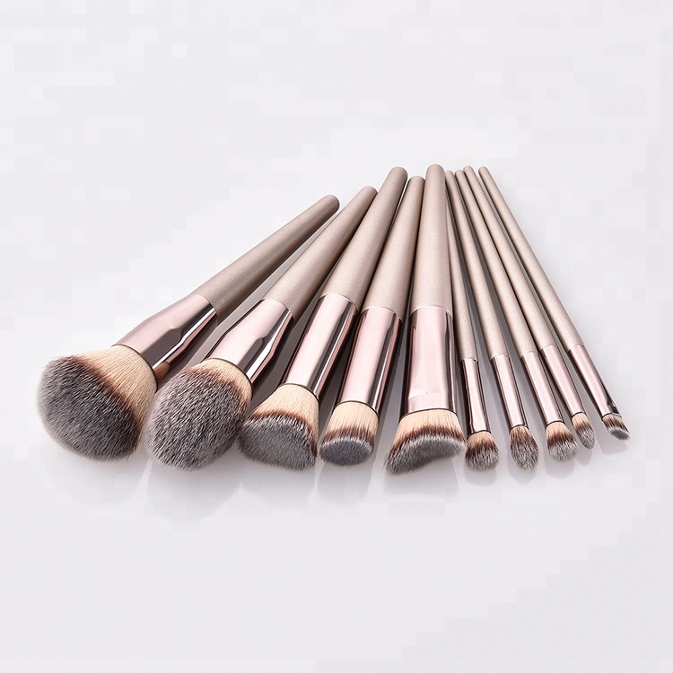 10 pcs Private Label Champagne Kabuki Make-Up Borstel borstel Make-Up Set met CHAMPAGNE GOUD Kleur