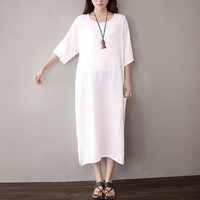 B22339A Ladies new fashion soft comfortable loose large size cotton and linen dress