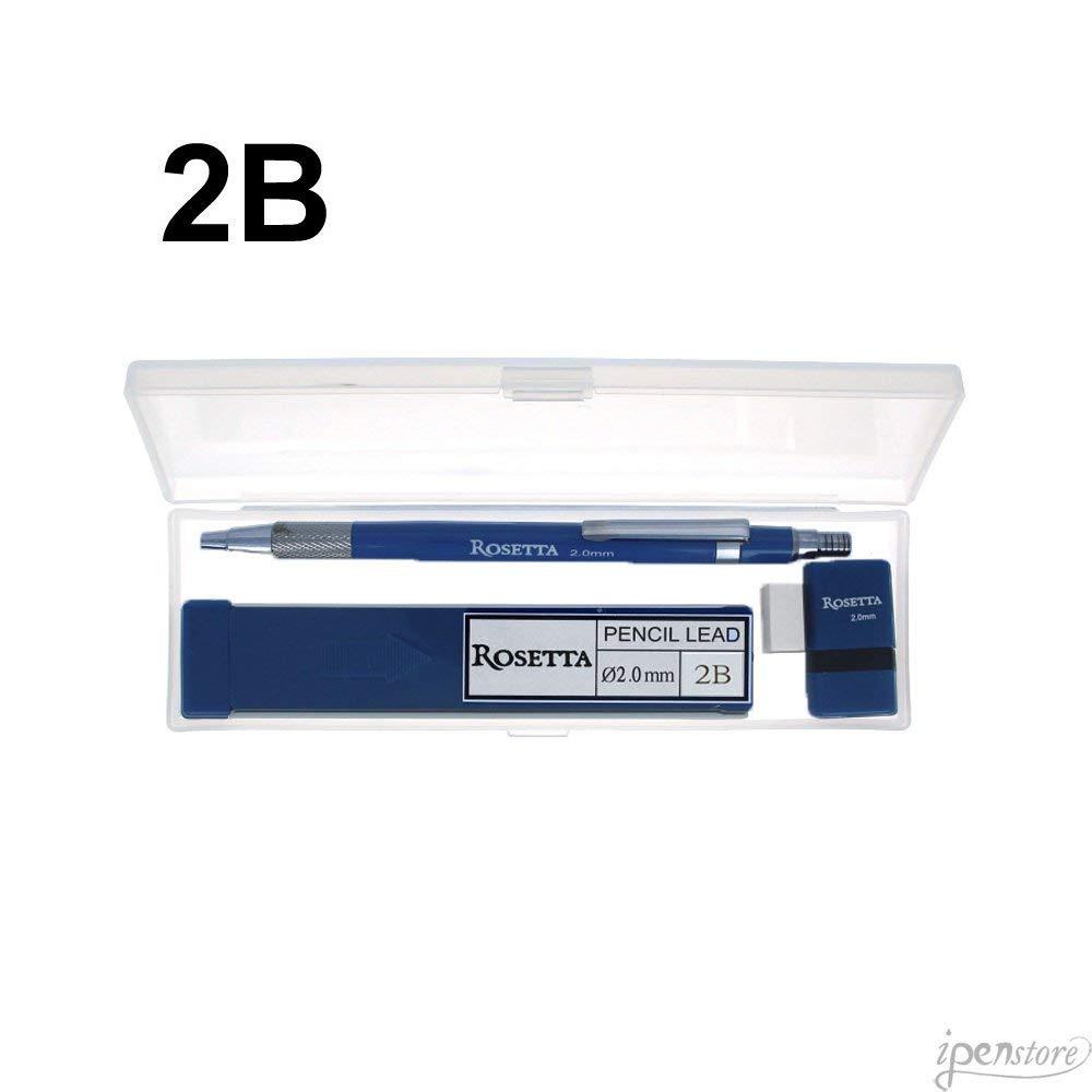 Rosetta Da Vinci 2 mm Blue Mechanical Pencil w/2B Leads, Sharpener/Eraser & Box