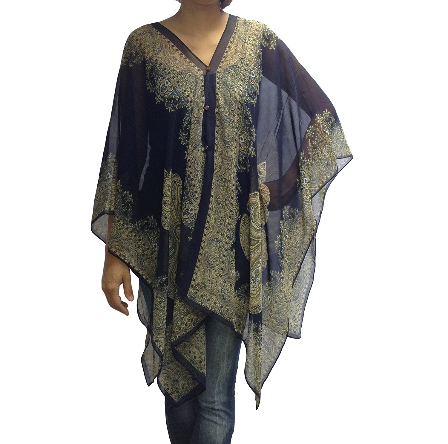4e3f6cb936 Get Quotations · Scarf Caftan Tunic Poncho Cover-up, Paisley Print, Shawl ,  Dark Blue Color