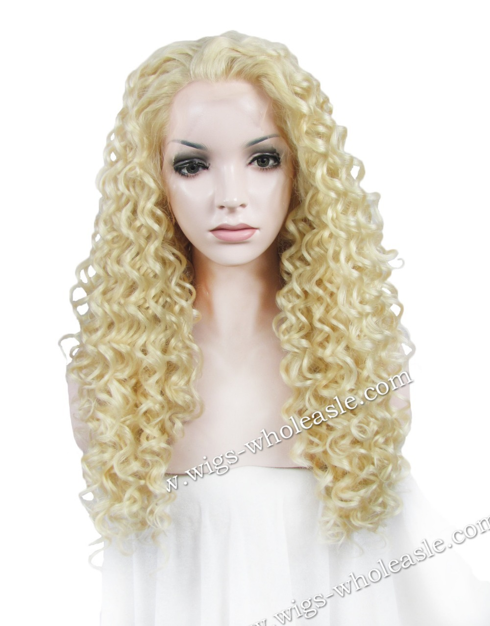 New Arrivals Kinky Curly Blonde Wig Synthetic Lace Front Wig Drag Queens Hair Wig