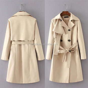 Women Euro Style Double Breasted Trench Khaki Classic Office Wear Coat Elegant Spring Autumn Winter Turn-Down Collar Trench Coat