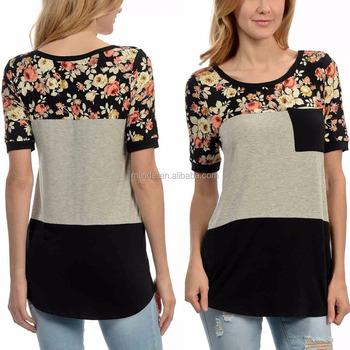 fd2c7ccb2f616 Designer Western Tops Images Gray   Black Floral Color Block Tops Wholesale  Custom Manufacturer