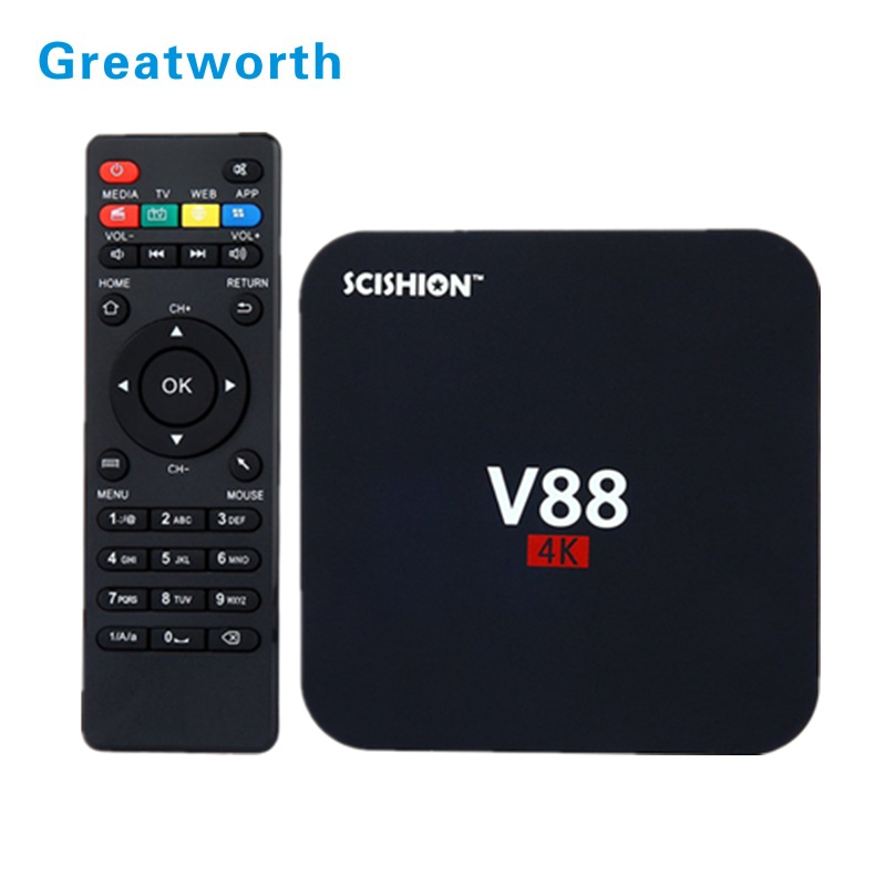 v88 RK3229 64Bit Quad Core tv box 1080P Lollipop OS 1G/8G WF 4 USB Host Support set box android 6.0