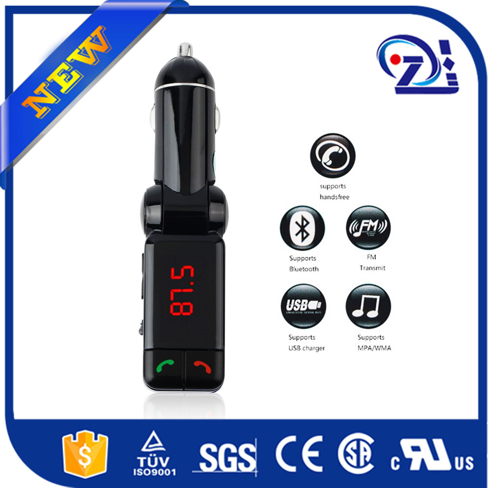Bluetooth hands free car kit FM transmitter with bluetooth earphone