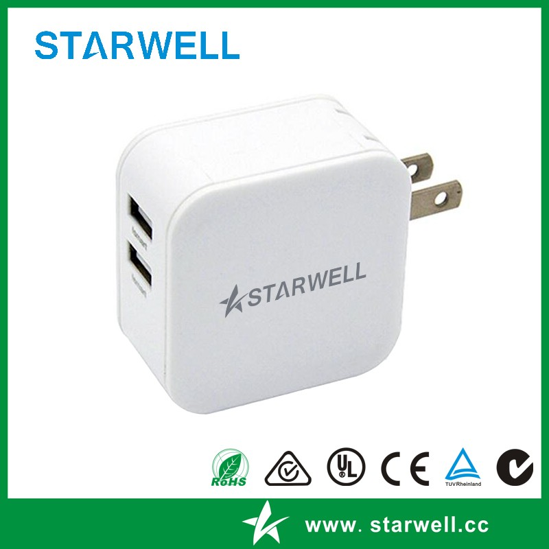 5V 3.1A Dual USB port charger/ dual port travel usb power adapter
