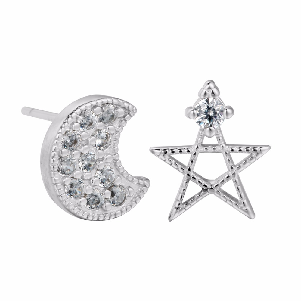 New Design 2017 Star & Moon Earrings For Women Baby Crystal Jewelry 925 Sterling Silver Earrings Wedding Jewelry
