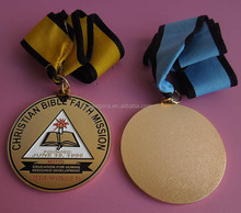 4mm thick round medal CHRISTIAN BIBLE FAITH MISSION medal for graduation