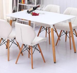 Simple Design Wooden Dining Room Set White MDF Top Dining Table Set 6 chairs