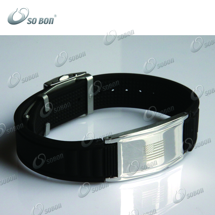 Personalized Rubber Silicon Magnetic Bracelets / Wholesale Bands with Negative ion