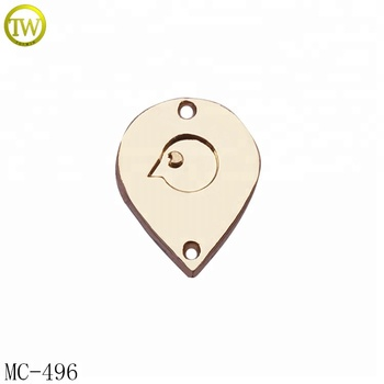 Custom gold brand name metal tag clothing metal logo labels for swimwear
