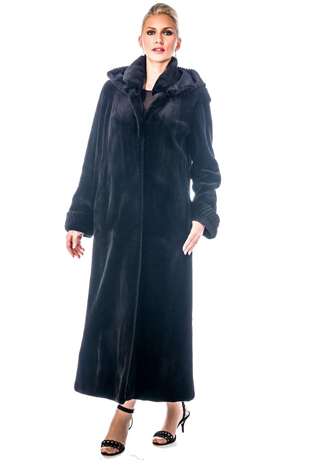 Madison Avenue Mall Womens Sheared Mink Fur Coat With Hood - Full Lenght