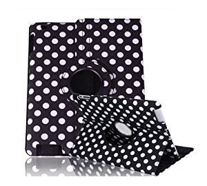 A-Smile@ Ipad 2,Ipad 3,Ipad 4 Leather Case,360 Degrees Rotating Stand Leather Smart Cover Case With Wake Sleep Capability For Ipad 2,Ipad 3,Ipad 4,(Black With White Polka Dot)