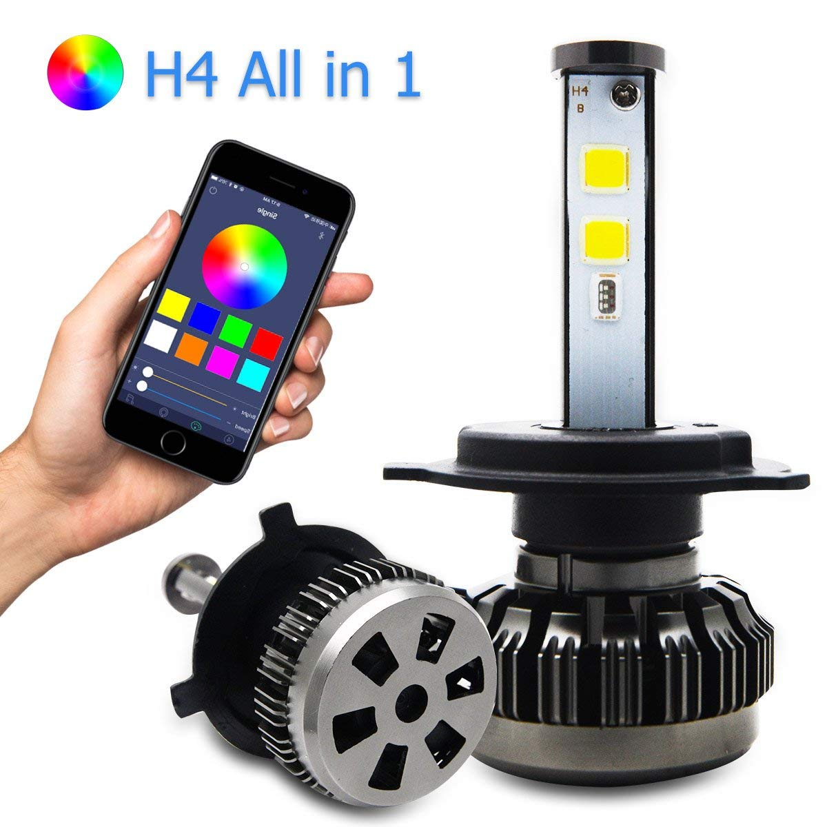 RGB Led Car Headlight Bulbs H4 Kit, Maso Adjustable Brightness Auto Headlight Bulbs 6000K-10000K 80W 8000LM Super White COB Chips Lamps with Smart App control Pack of 2 pcs