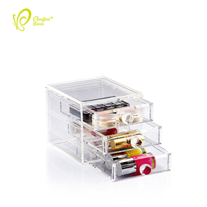 Wholesale Acrylic 3 Drawers Storage Box Small Makeup Vanity Box for Cosmetic