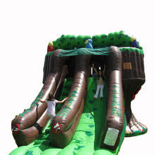 pvc tarpaulin Treehouse Mega inflatable slide/ dry slide for adult