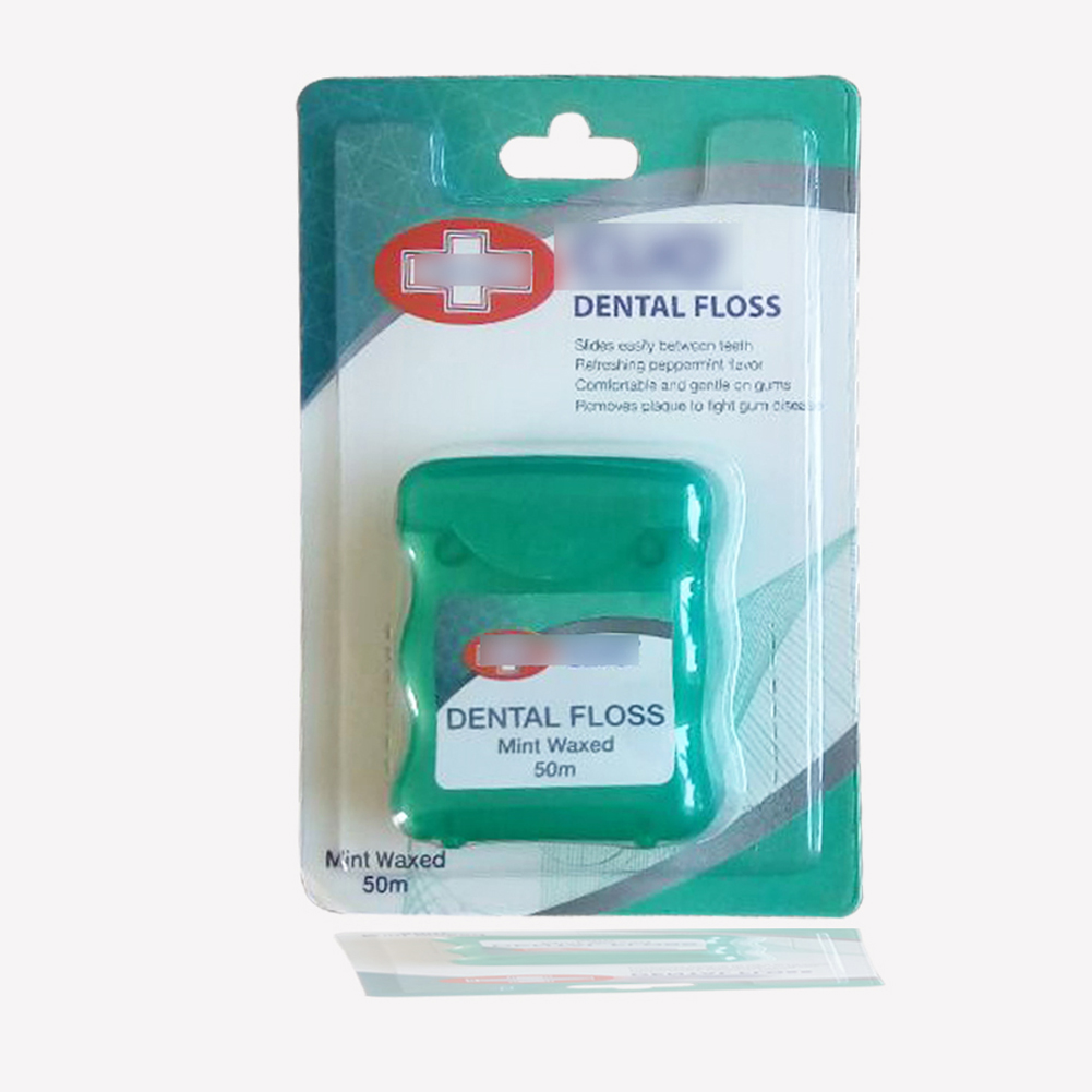50 m Mint Smaak Bamboe Houtskool Dental Floss Waxed Schurende Dental Floss met logo afdrukken of private label op doos