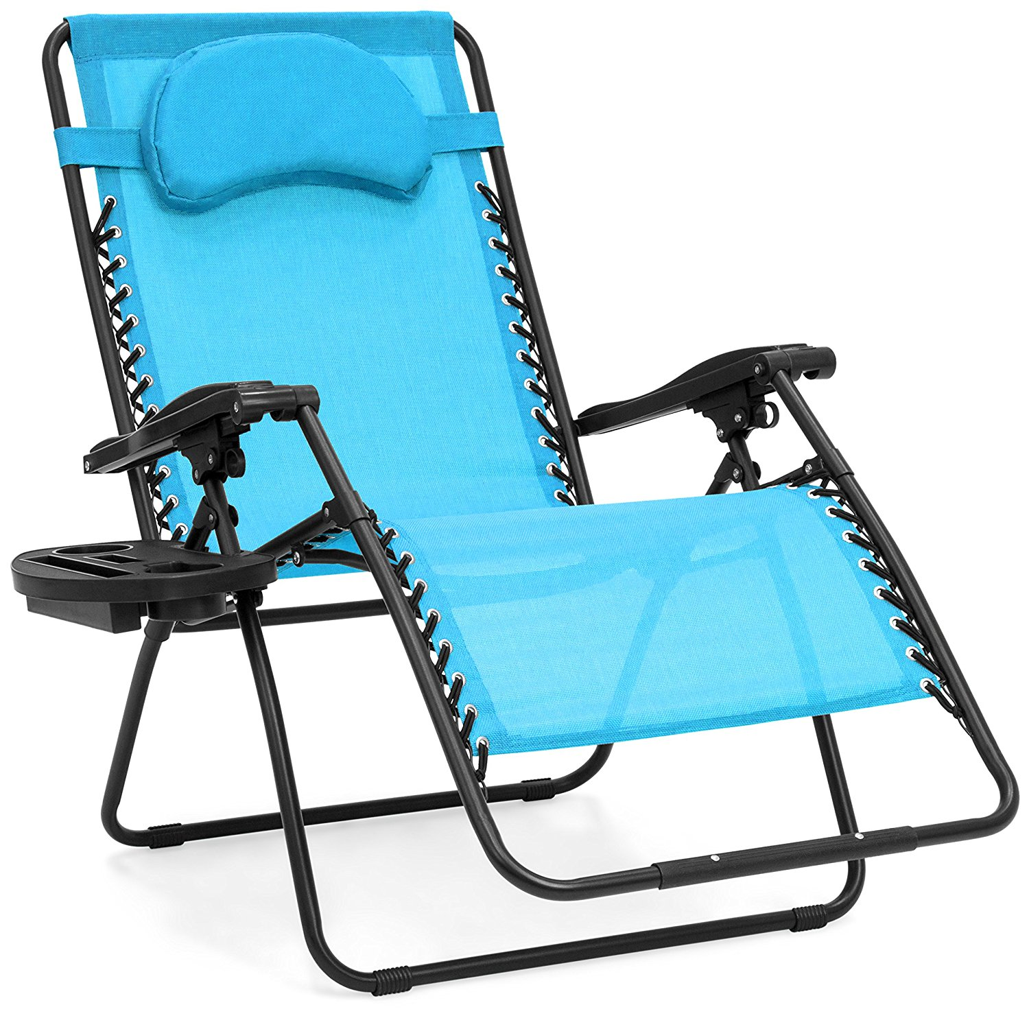 Best Choice Products Oversized Zero Gravity Outdoor Reclining Lounge Patio Chair w/Cup Holder - Blue