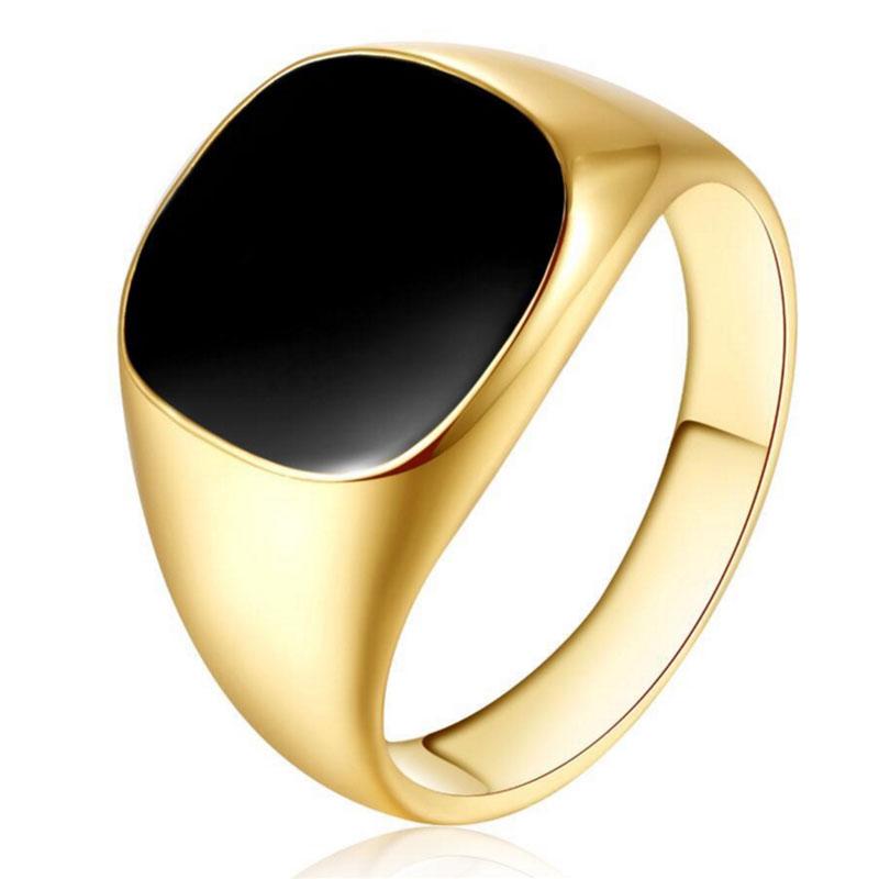 Prächtig 2018 Men Vintage Ring Gold Silver Plated Black Enamel Rings Punk @DN_08