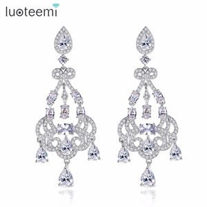 LUOTEEMI Long Drop Earrings for Bride Silver Color Crystal Rhinestone Wedding Engagement Hanging Earrings Jewelry