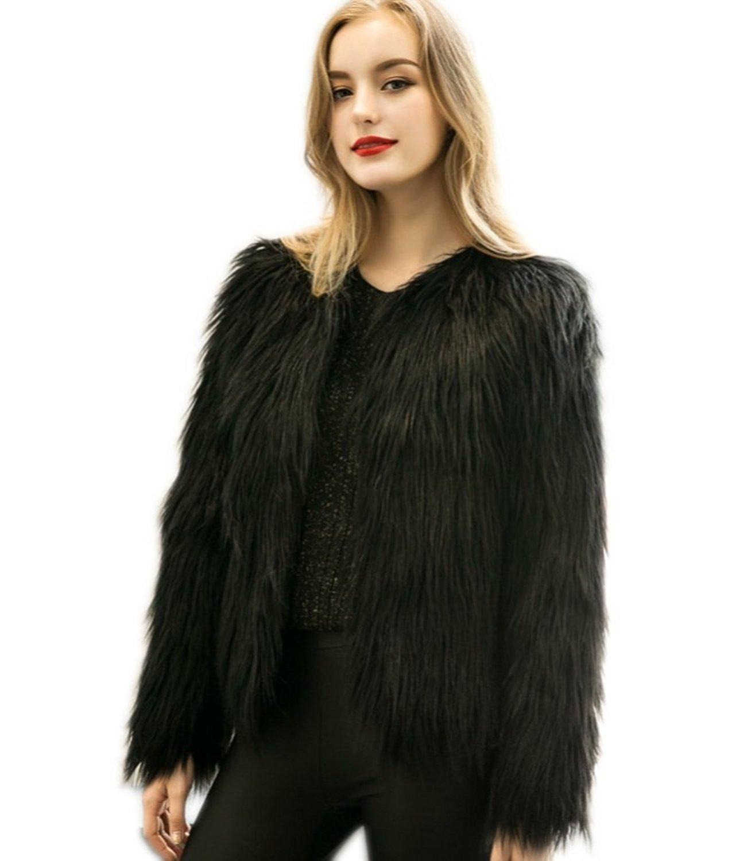 96e0707ee9f Get Quotations · TOOTTY Unique Luxurious Faux Fur Fashion Jacket M-3XL
