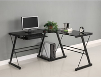 L shape computer table desk with black glass