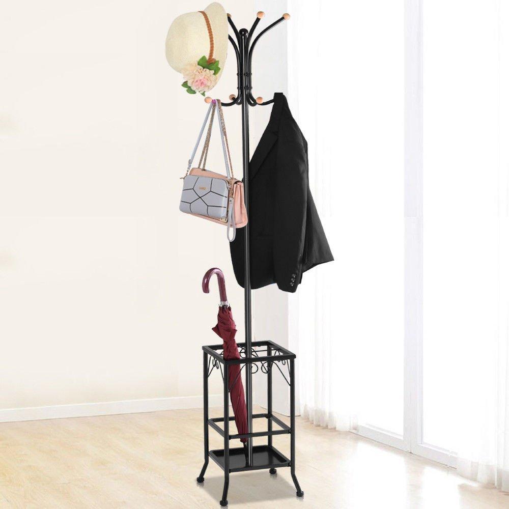 Tangkula Metal Coat Rack Hat Stand Tree Hanger Hall Umbrella Holder Hooks Black