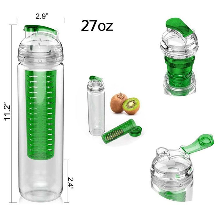 BPA free Fruit Plastic Water Bottle Infuser,Custom Water Bottle Manufacturing, Fruit Infusion