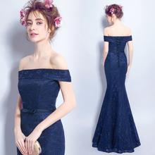 off shoulder lace tight bandage long royal blue evening dress