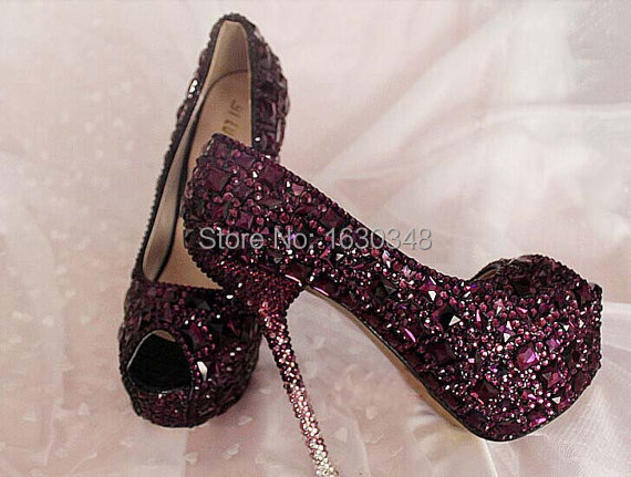 Wedding Heels With Rhinestones: Handmade Wedding Shoes Purple Rhinestone Crystals Custom