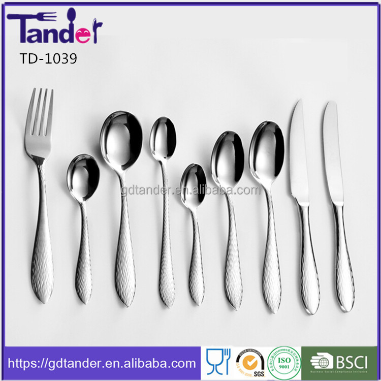 Tander hotel use stainless steel flatware sets hammered cutlery set inox 18 10