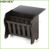 Wood Black Magazine Rack With Side Flip Top Homex_BSCI Factory