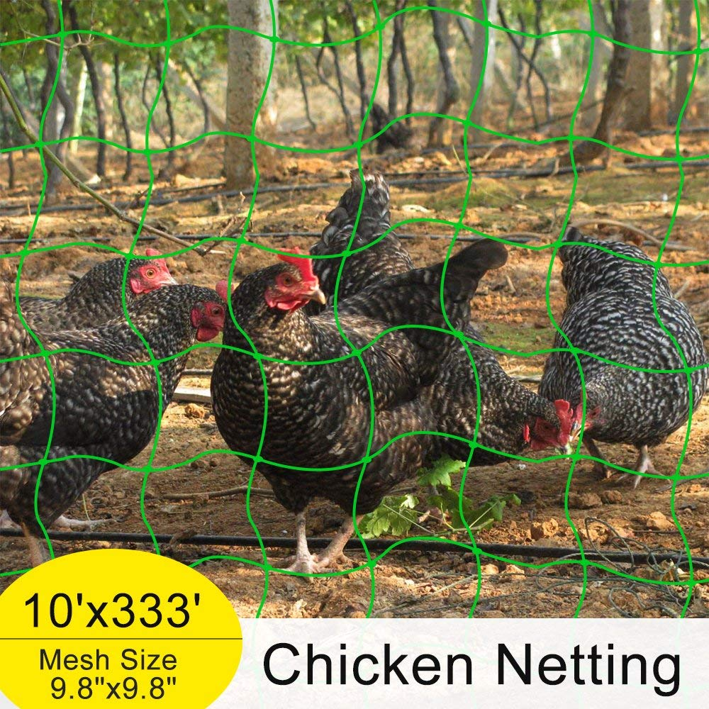 "Mr.Garden Reinforced Edge Trellis Netting,Chicken Netting,Poultry Fence, (Support for Climbing, Fruits, Vegetables and Flowers) White Green 9.8""-9 W10'xL333'"