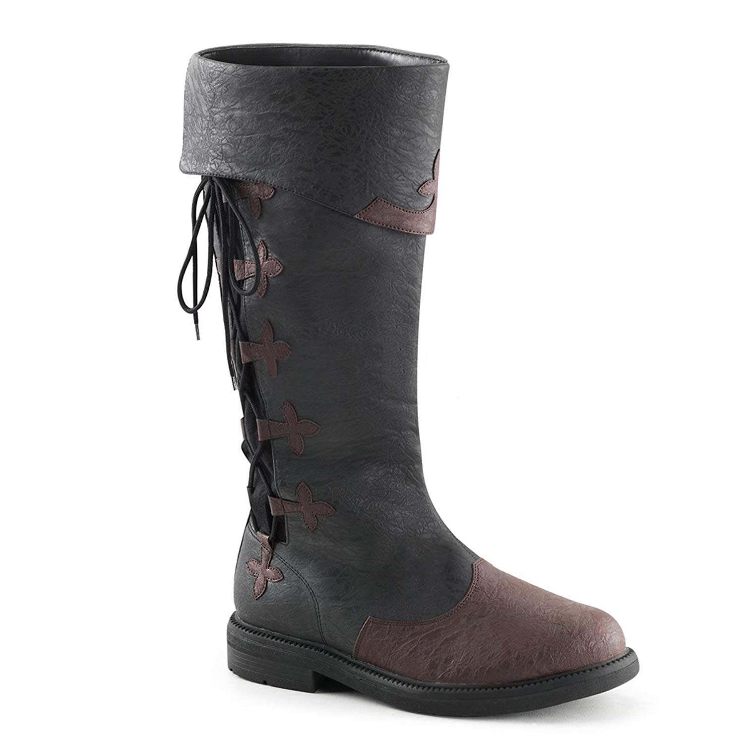 Get Quotations · Summitfashions Men Distressed Black Brown Pull On Knee High  Pirate Boots Lace Up Side 9d8033b80ae5