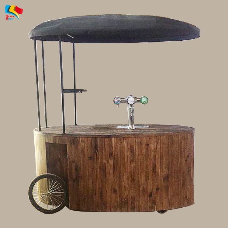 muti-functional vending food beer cart wood hand Party carts