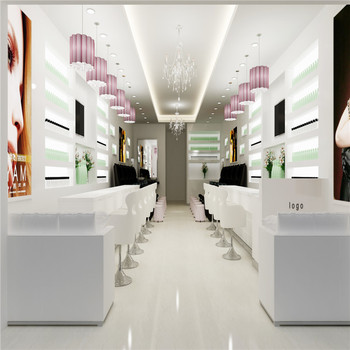 Nail Salon Interior Design With 3d Drawing Display Furniture Used For Salon  Decoration