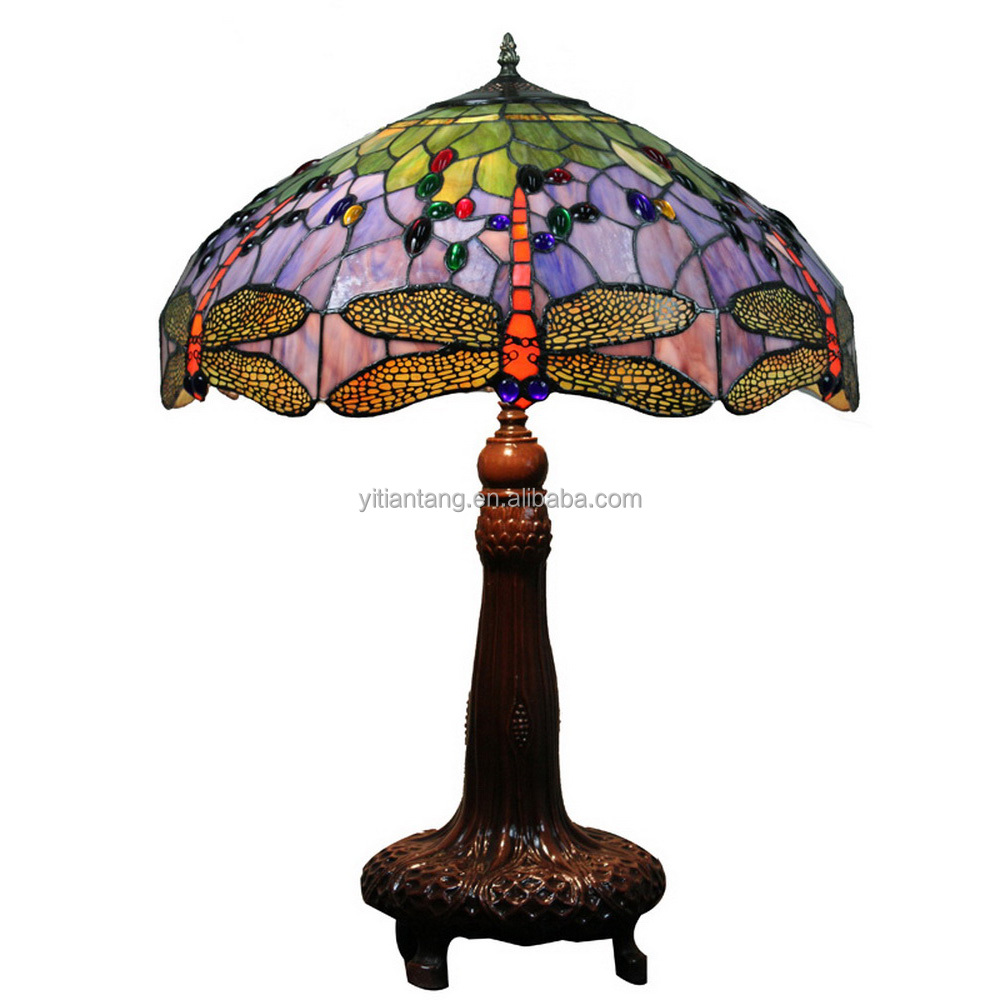16 inch tiffany style lead light dragonfly table lamp stained glass