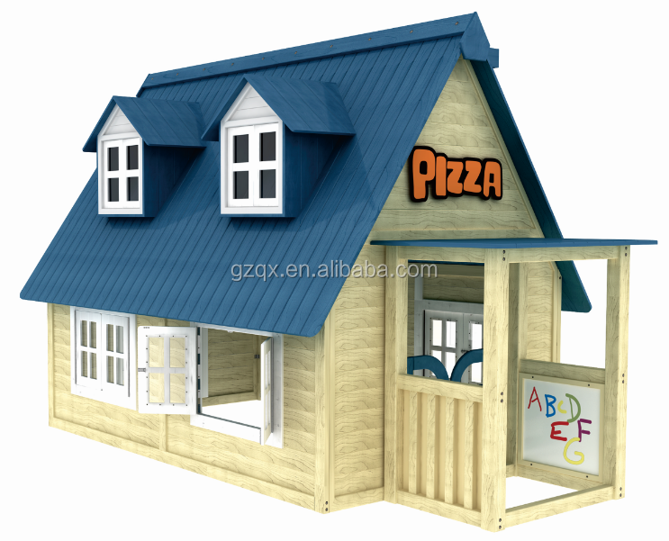 Wood made luxury playhouses qx 204i outdoor wooden Outdoor playhouse for sale used