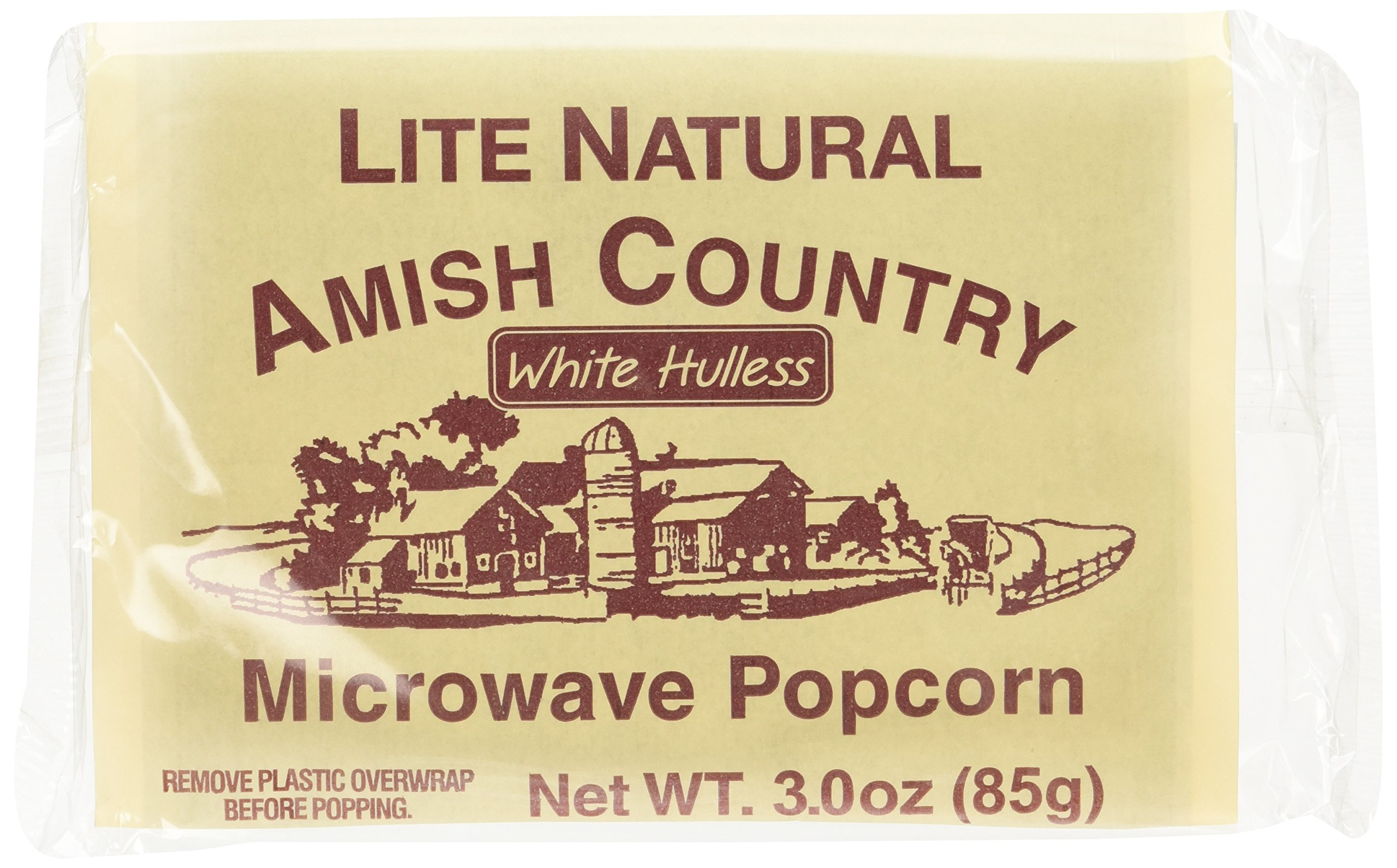 Amish Country Popcorn - Light Natural White Hulless - Old Fashioned Microwave Popcorn - All Natrual, Gluten Free, and Non GMO (10 Bags)