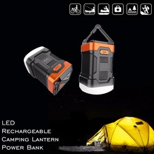 2017 Hot Sell New LED Waterproof Camping Light Lamp Power Bank Combo for camping