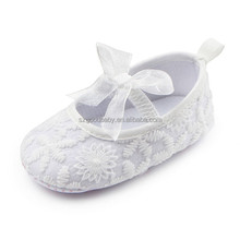 wholesale cotton fabric bow satin christening plain white baby shoes