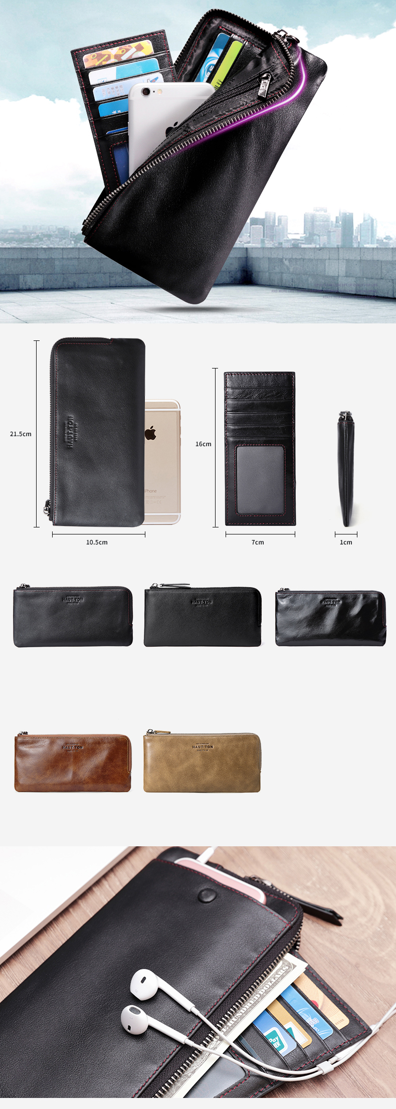 Genuine leather business men slim credit card carrying bag coin purse cell phone case wallet with zipper