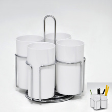 High Quality Rotatable Utensil Holder With 4 White Plastic Cup