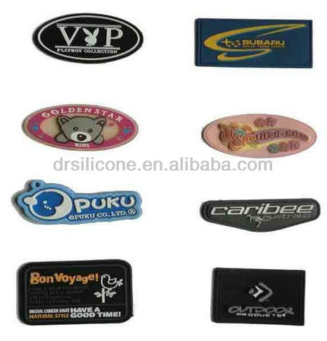 2015 new hot selling embossed/debossed/printed silicone/pvc clothing/garment/shirt label plate/brand logo /badge/trademark