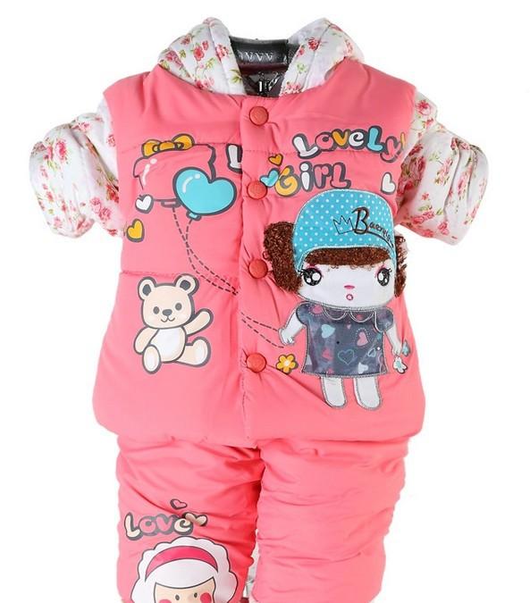Зима младенцы комплект девочки-младенцы игрушки-мать одежда комплект для девочка девочки малыша зима suitBaby хлопок толстый пальто