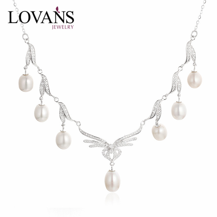 925 Sterling Silver Artificial Fresh Water Pearl Necklace Jewelry Set SNE164W