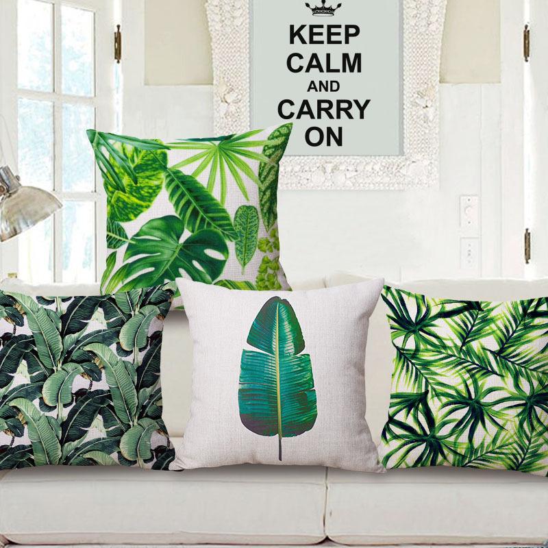 45cm 200g Tropical Rainforest Thick Type Fashion Cotton Linen Throw Pillow Hot Sale 18 Inch New Home Decor Sofa Back Cushion MQQ